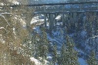 Latah Creek/Three bridges in the snow.